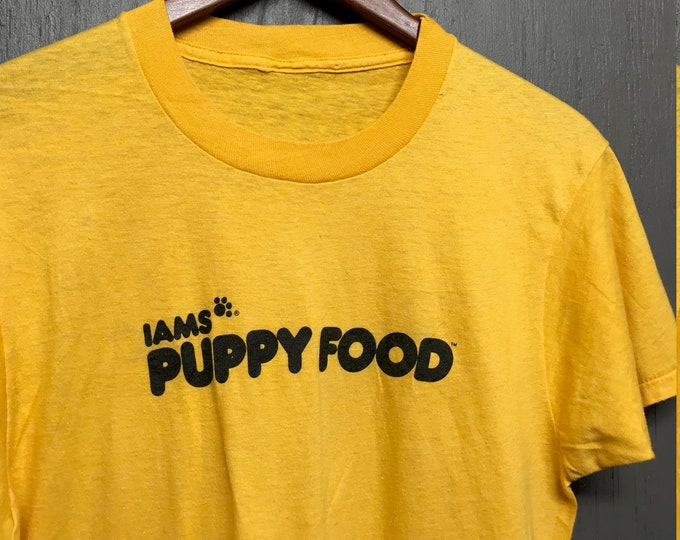 M thin vintage 80s Iams Puppy Food t shirt * dog