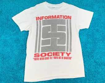 L * vtg 80s 1989 Information Society t shirt * 56.156 new wave dance synth