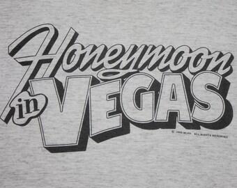 L * vtg 90s 1993 Honeymoon In Vegas movie promo t shirt * nicolas cage * 13.159