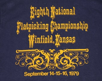 S * vtg 70s 1979 Gibson Mandolin Flatpicking Championship winfield kansas t shirt * country bluegrass * 105.25