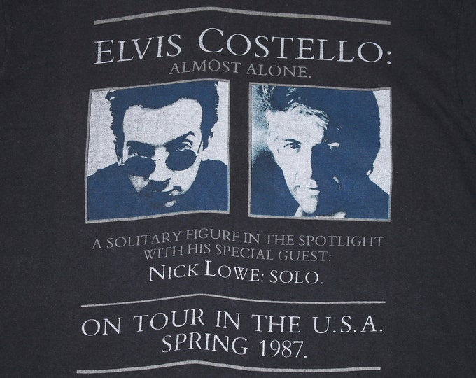 L * vtg 80s 1987 Elvis Costello / Nick Lowe tour t shirt * 106.28