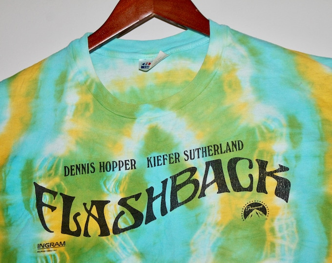 XL * vtg 1990 Flashback promo movie tie dye t shirt * dennis hopper kiefer sutherland * 108.16
