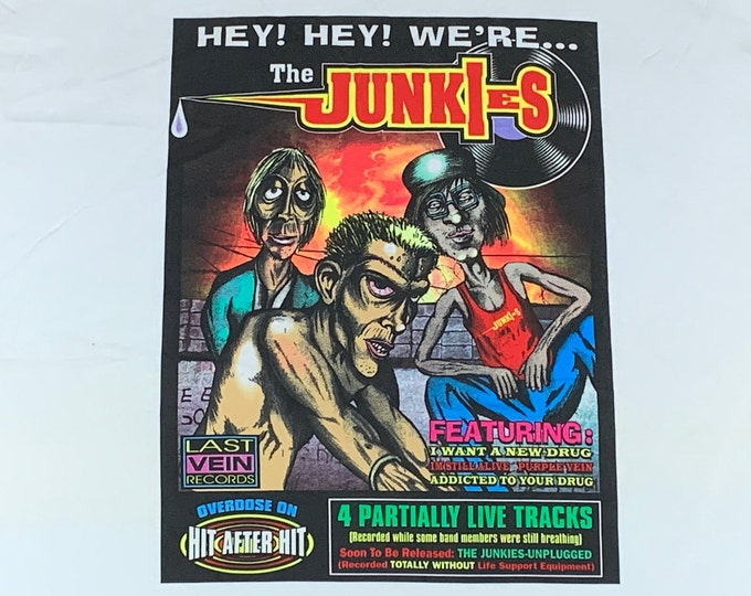 XL * nos vtg 90s Heroin Junkies parody t shirt * weed marijuana rap pot drug * 32.207
