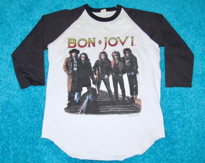 M/L * vtg 80s 1989 Bon Jovi new jersey raglan tour t shirt * medium large * 34.166