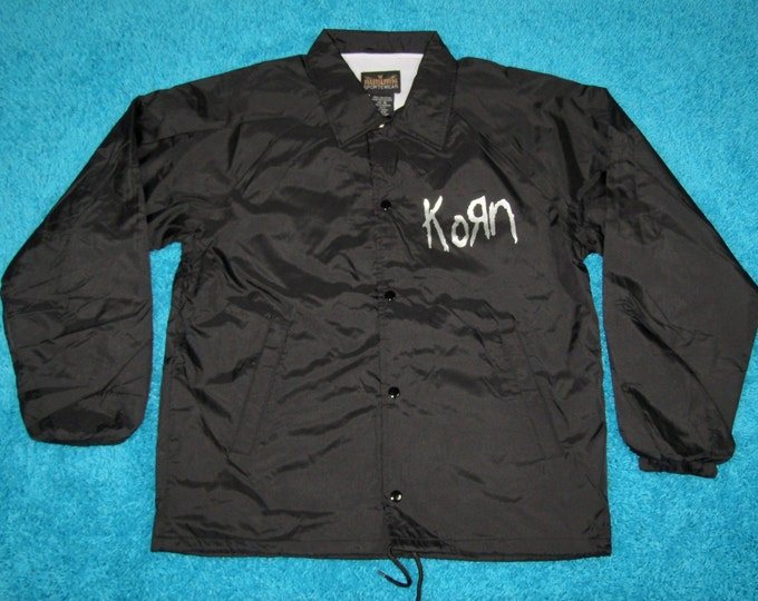 M * nos vtg 90s KORN issues windbreaker coaches jacket * shirt tour concert