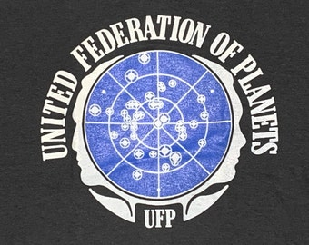 S * nos vtg 80s / 90s United Federation of Planets screen stars t shirt * movie tv show * 90.61