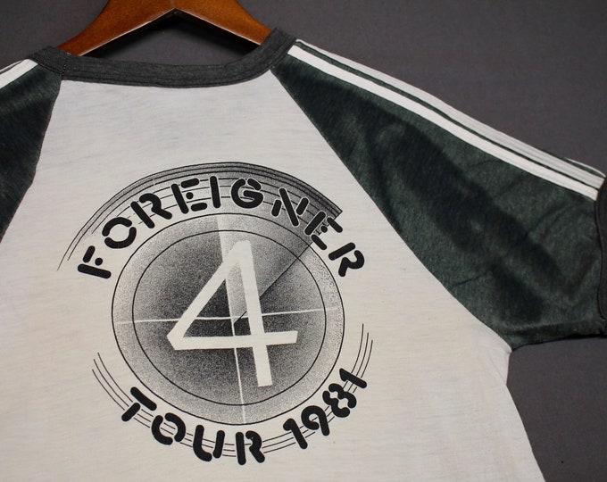 S * vtg 80s 1981 Foreigner raglan tour t shirt * 15.157