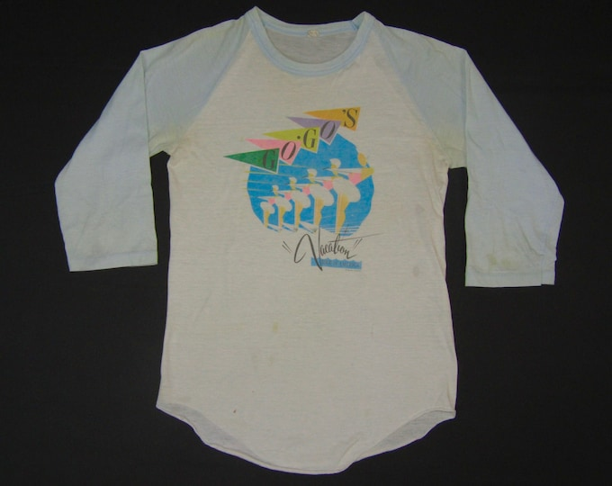 S * thin vtg 80s 1982 the Go Go's vacation raglan tour t shirt * gogos go gos belinda carlisle * 101.38