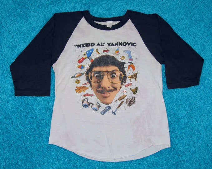 S * vtg 80s 1985 Weird Al Yankovic dare to be stupid raglan tour t shirt * 34.165