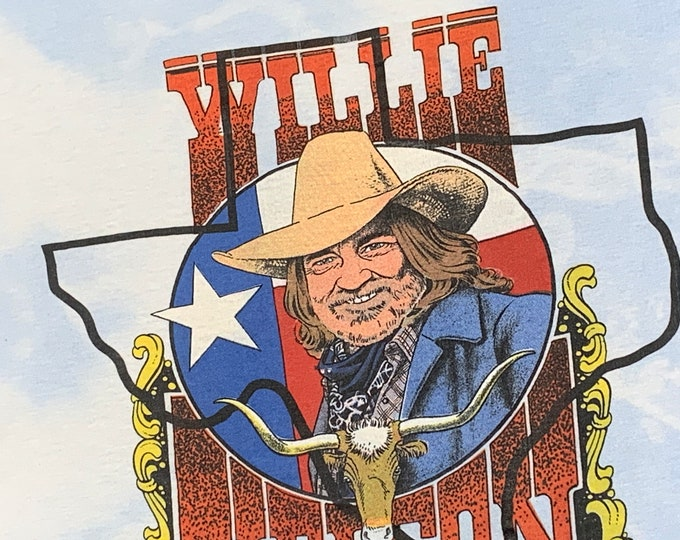M * vtg 80s Willie Nelson t shirt * 107.31 tour classic outlaw country