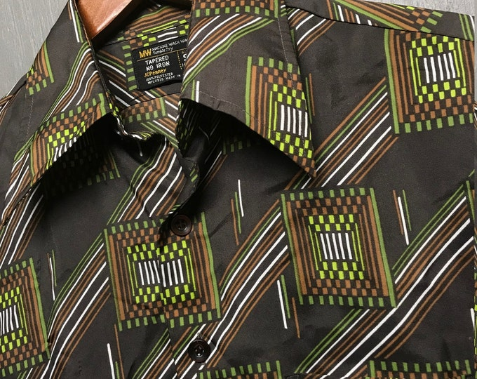 S vtg 70s geometric psychedelic poly disco shirt