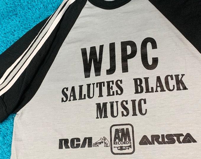 M * vtg 70s WJPC Salutes Black Music Chicago Radio t shirt * record label promo r&b soul funk disco * 34.179