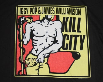 XL * vtg 90s Iggy Pop James Williamson kill city t shirt