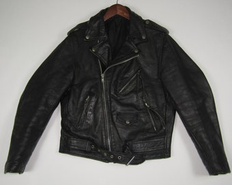 M / 38 * vtg black leather jacket * biker motorcycle punk metal goth