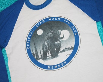 XS * NOS vtg 80s 1982 Star Wars Fan Club raglan t shirt * 39.175