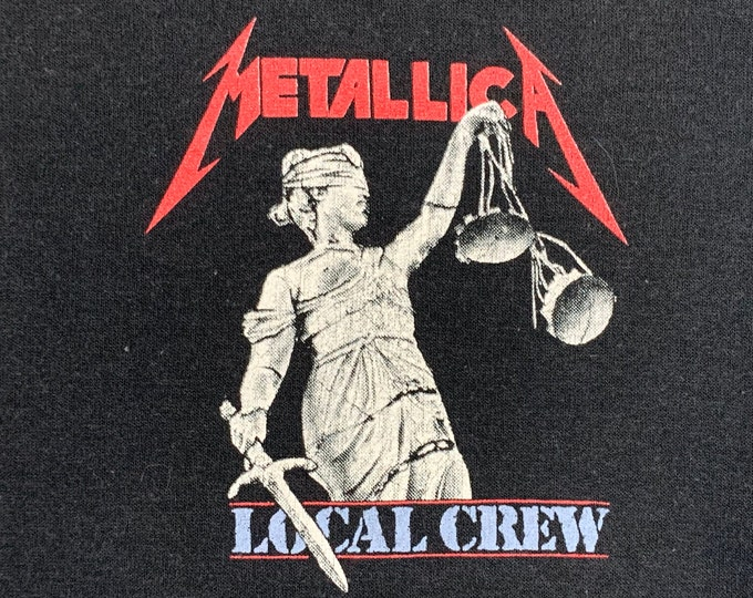L * thin vtg 80s Metallica and justice for all Crew tour t shirt * 66.168