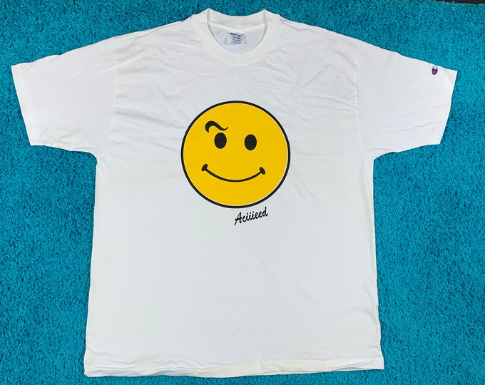 XL * NOS Champion vtg 80s/90s Acid House smiley face t shirt * happy Aciiieeed Aciiid rave raver dj * 46.167