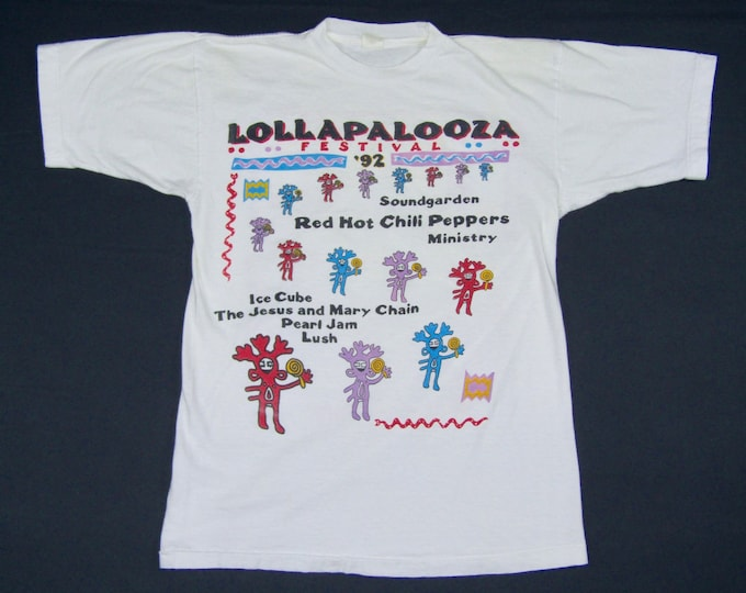 M * vtg 90s 1992 Lollapalooza tour t shirt * soundgarden red hot chili peppers ministy ice cube jesus and mary chain pearl jam lush * 68.149