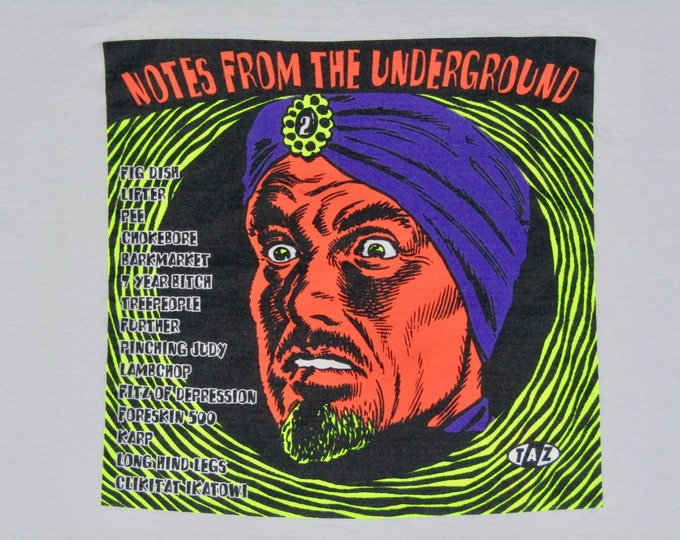 XXL * vtg 90s 1995 Priority Records TAZ art Notes From The Underground comp t shirt * jim evans * 90.57