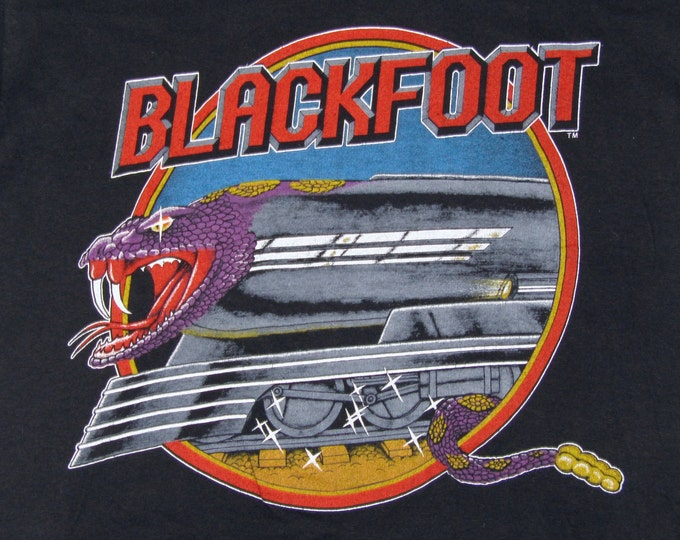 S/M * vtg 80s 1984 Blackfoot tour t shirt * small medium * 37.138