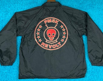 L * nos vtg Powerman 5000 windbreaker coaches jacket * shirt tour concert nu metal