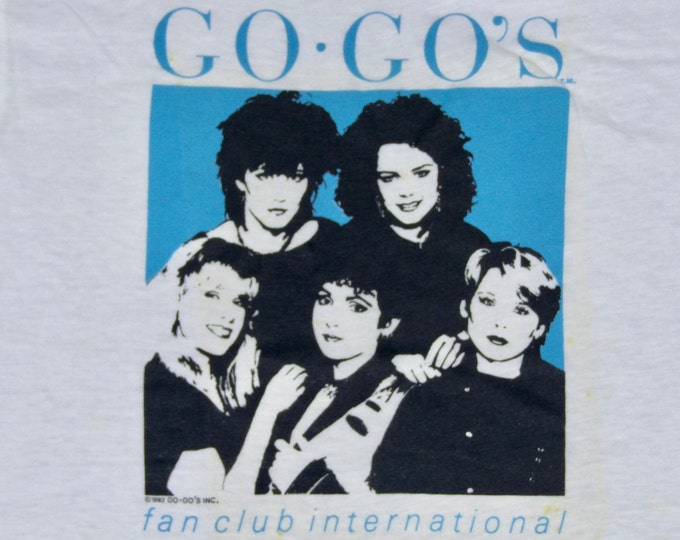 S * NOS vtg 80s 1982 The Go-Go's fan club t shirt * go gos gogos belina carlisle * 45.189