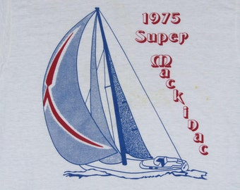 S/M * NOS vtg 70s 1975 1st Super Mackinac sail boat race t shirt * Mac Centennial Chicago yacht small medium * 99.32