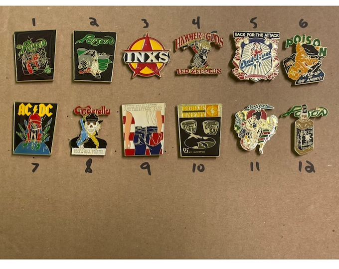 Pic any 3 vintage 80s pin lot * poison led zeppelin inxs ac/dc dokken bruce springsteen t shirt public enemy