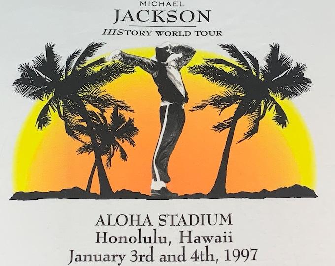 XL * nos vtg 90s 1997 Michael Jackson Honolulu Hawaii concert ringer t shirt * tour *