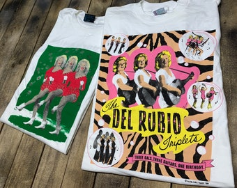 XL * deadstock vtg 90s Del Rubio Triplets t shirt lot * pee wee herman the cramps movie tour