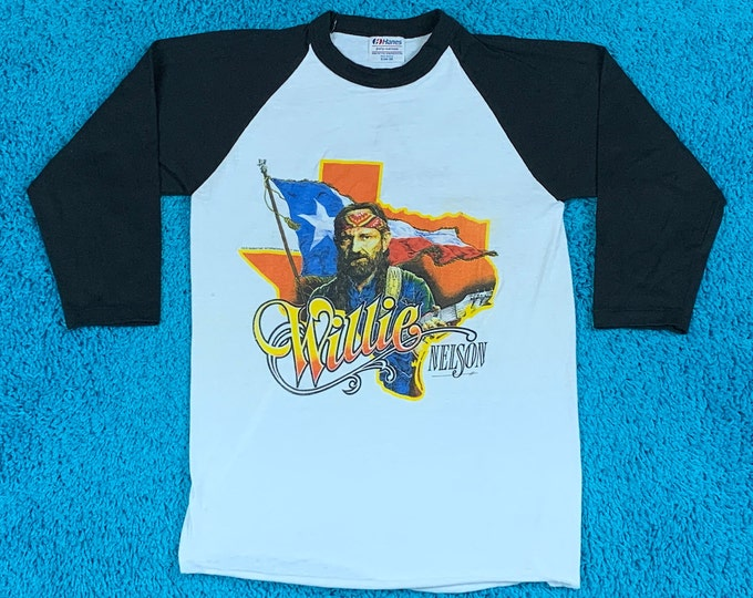 XS * vtg 80s 1984 Willie Nelson t shirt * 24.191 tour classic outlaw country