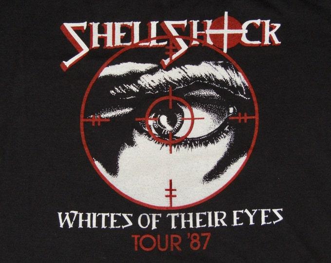 M * vtg 80s 1987 Shellshock pre CROWBAR tour t shirt * shell shock punk hardcore * 10.172