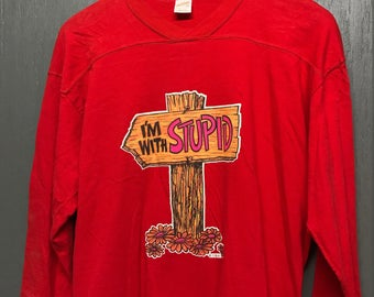 M/L vintage 70s I'm With Stupid t shirt jersey * medium large