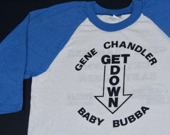 M/L * NOS vtg 70s 1978 Gene Chandler get down disco funk promo raglan t shirt * medium large * 45.190