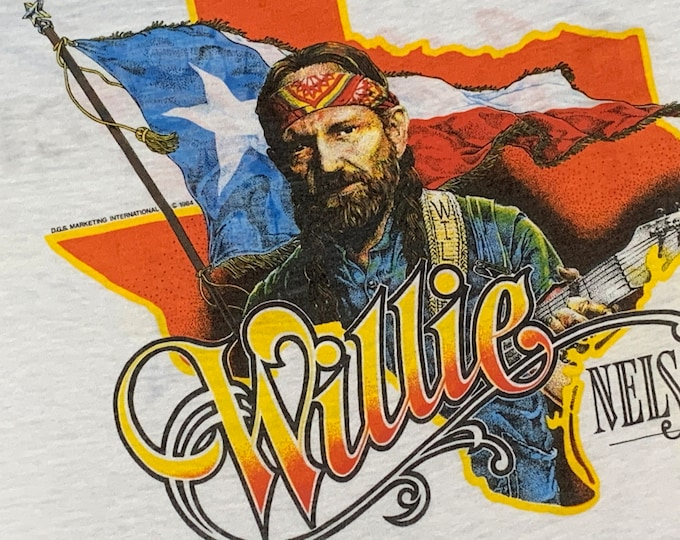 M/L * vtg 80s 1984 Willie Nelson t shirt * concert tour * medium large * 26.174