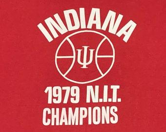 M/L * vtg 70s 1979 Indiana Hoosiers basketball t shirt * 67.126