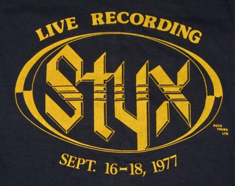 XS * NOS vtg 70s 1977 STYX grand illusion kansas city t shirt * 27.182