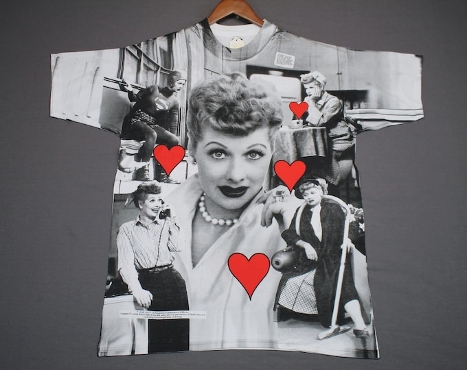 XL * NOS vtg 90s I Love Lucy all over print tv show t shirt * 24.177