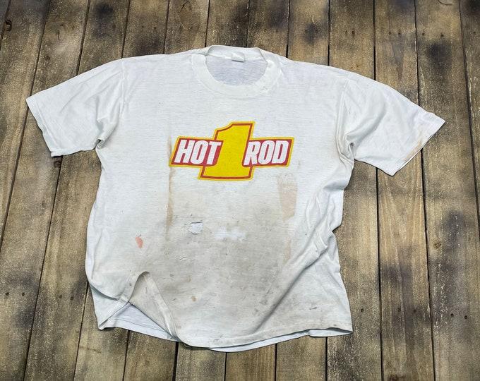 XL * thrashed vintage late 70s / early 80s HOT ROD Magazine t shirt * street car racing custom