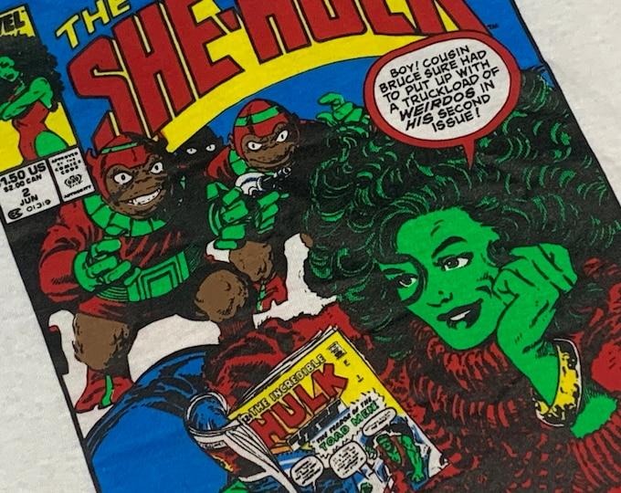 L * NOS vtg 80s 1989 She Hulk Marvel Comic t shirt * incredible * 54.185