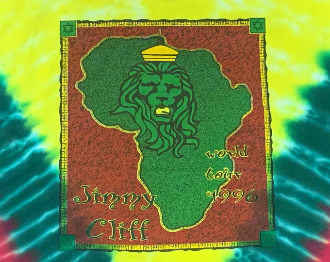 L * vtg 90s 1996 Jimmy Cliff tie dye tour t shirt * reggae * 51.140