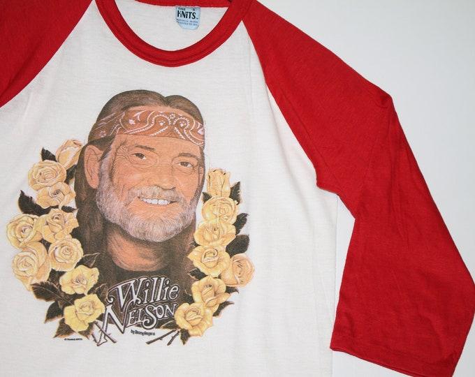 XS * NOS thin vtg 80s 1980 Willie Nelson raglan t shirt * 107.21