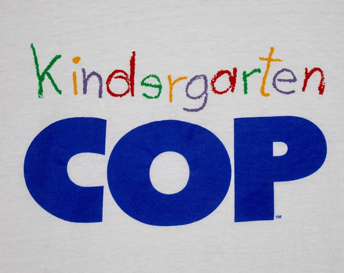 S/M * NOS vtg 1990 Kindergarten Cop movie promo t shirt * medium small schwarzenegger * 15.154