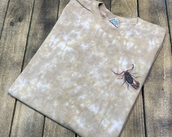 XL * deadstock vintage 90s 1997 tie dye Scorpion t shirt * Not Fade Away nature earth liquid blue
