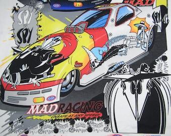 M/L * NOS vtg 90s 1998 Mad Magazine Racing nhra drag Spy vs Spy t shirt * medium large