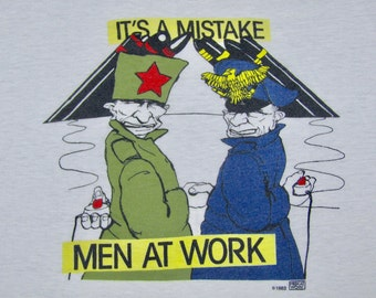 M * thin vtg 80s 1983 Men At Work it's a mistake t shirt * concert tour Anti War * 68.155