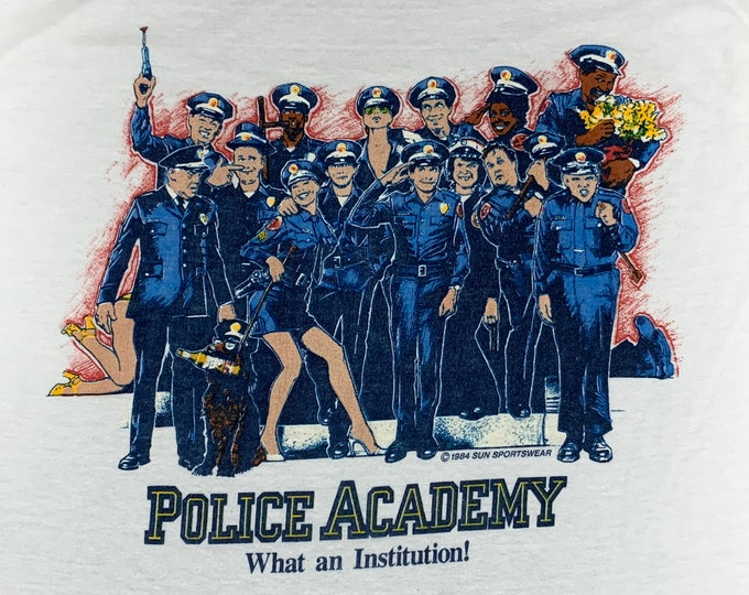 S/M * vtg 80s 1984 Polica Academy movie promo t shirt * small medium * 70.141