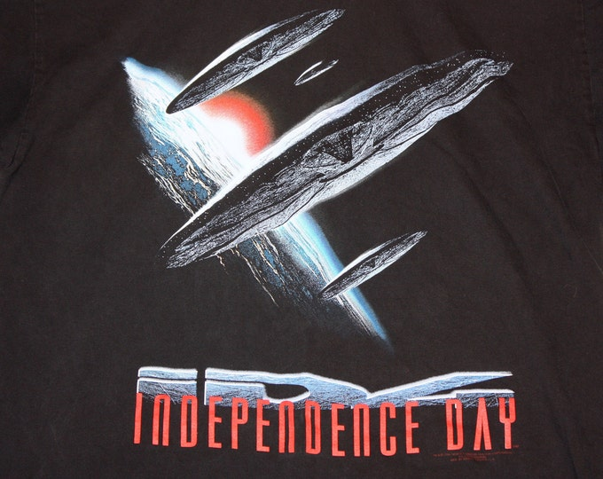 XL * vtg 90s 1996 Independence Day movie t shirt * will smith alien stanley desantis * 102.22