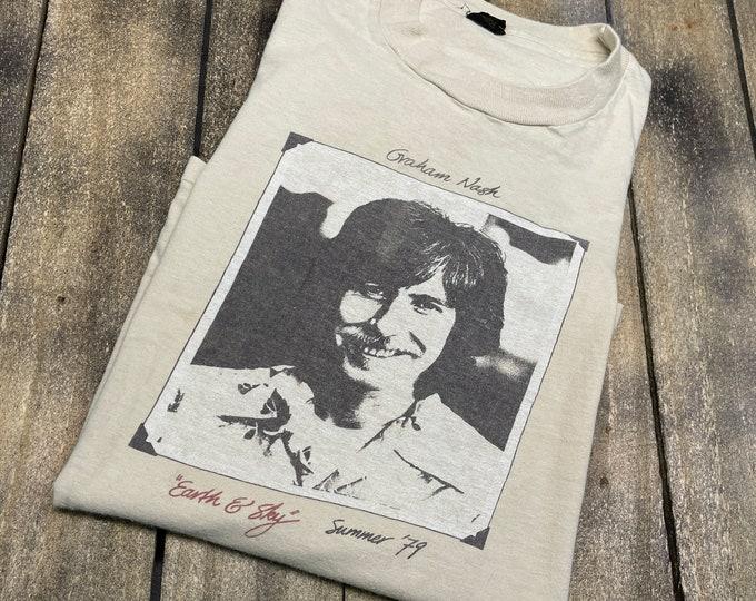 S/M * vintage 70s 1979 Graham Nash tour t shirt * No Nukes crosby stills young small medium * 83.150