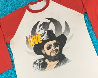 M * vtg 80s 1987 Hank Williams Jr raglan t shirt * outlaw classic country music tour * 70.149